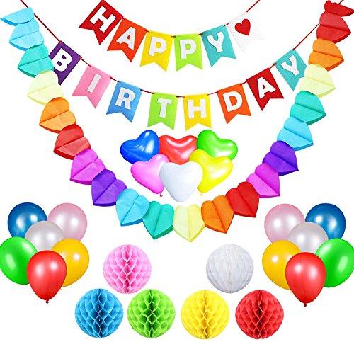 acetek Geburtstag Party Supplies Dekorationen Set, Happy Birthday Banner Flaggen, 6farbenfrohen Pompon aus Seidenpapier Bälle, 18Ballons, Heart & Star Form Girlande für Geburtstag, Baby Dusche, Braut, Hochzeit