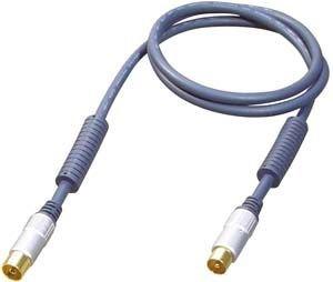 All4u BBFK Antennenkabel (9,5 mm Antennenstecker - 9,5 mm Antennenkupplung, verchromter Vollmetallstecker) 10 m blau