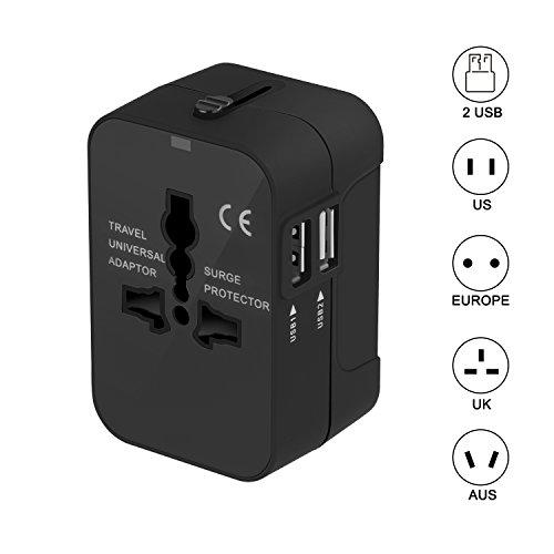 Universal Reiseadapter kompakt Reisestecker Adapter - SURWELL International Steckdosenadapter Dual USB Port Netzadapterstecker (Schwarz)