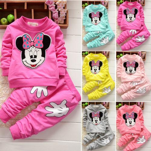 Kinder Baby Mädchen Minnie Maus Hoodie Sweatshirt Tops+Freizeithose Outfits Set