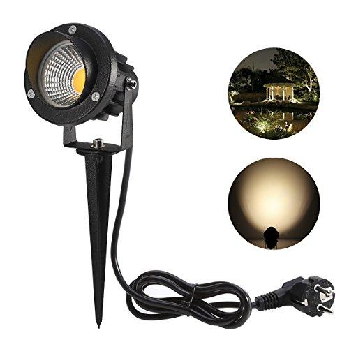 ProGreen 5w LED Gartenleuchte mit Stecker, 3000k Warmweiß, AC85-265V, 90 Lumen, Wasserdicht IP65, LED Gartenbeleuchtung, Garten Scheinwerfer, LED Rasen Licht, LED Lawn Licht, Spotbeleuchtung, Bodenleuchte, Teichstrahler (5w 3000k)