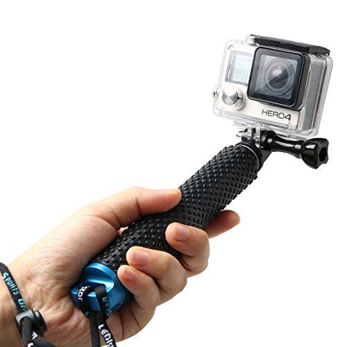 LENDOO Aluminium Einbeinstativ für GoPro , Erweiterbar Self Portrait Wasserdicht Selfie Stick Pole Handheld Monopod Pole für Go Pro HD Hero 5, Gopro Hero 4 Session Actionkameras (Blau)