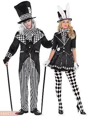 Dark Mad Hatter Halloween Costume Mens Ladies Alice Wonderland  Fancy Dress