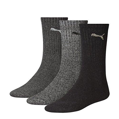 PUMA Unisex Crew Socks Socken Sportsocken MIT FROTTEESOHLE 18er Pack (39 / 42 - 18 Paar, anthracite / grey)