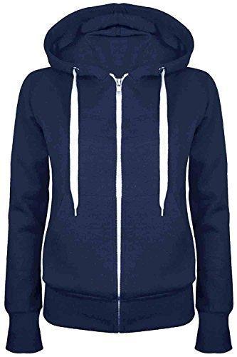 Oops Outlet Damen Einfarbig Kapuzenpulli Mädchen Reißverschluss Top Damen Kapuzenpullis Sweatshirt Mantel Jacke Übergröße 6-24 - Marine, Übergröße 3XL (46/48)