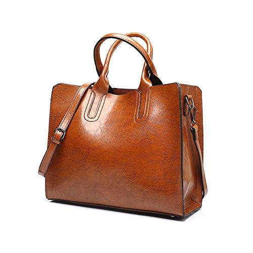 VECHOO Vintage Handtaschen Henkeltasche Umhängetasche Damen Schultertasche crossbody Bag mit Schulterriemen (Braun)