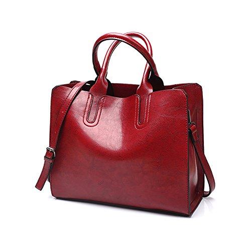 VECHOO Vintage Handtaschen Henkeltasche Umhängetasche Damen Schultertasche crossbody Bag mit Schulterriemen (Weinrot)