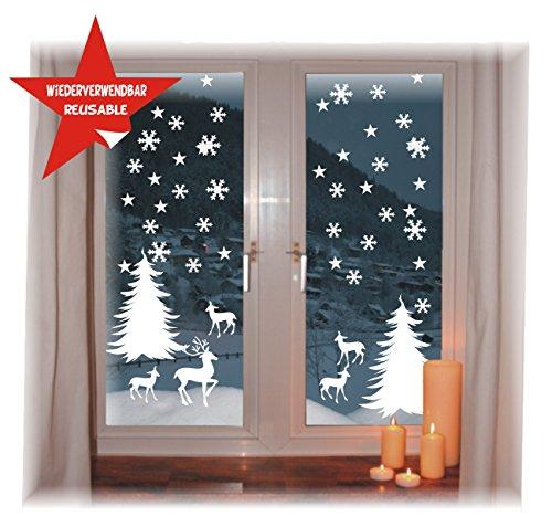 das-label Fensterbild -Wintermotiv - WIEDERVERWENDBAR - wunderschöne Motive - ohne transparenten Hintergrund - konturgestanzte NEUHEIT