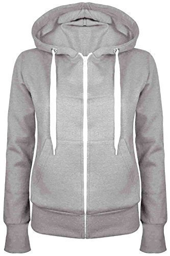 Oops Outlet Damen Einfarbig Kapuzenpulli Mädchen Reißverschluss Top Damen Kapuzenpullis Sweatshirt Mantel Jacke Übergröße 6-24 - grau, Übergröße 4XL (48/52)