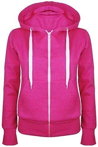 Oops Outlet Damen Einfarbig Kapuzenpulli Mädchen Reißverschluss Top Damen Kapuzenpullis Sweatshirt Mantel Jacke Übergröße 6-24 - Kirschrot, Übergröße 2XL (44/46)