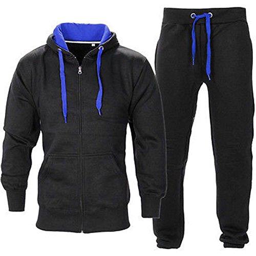 BE JEALOUS Herren Essentials Contrast Trainingsanzug Fleece Kapuzenpullis Jogginghose Jogginghose Gym Set - Schwarz/Königsblau, XL