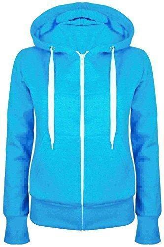 Oops Outlet Damen Einfarbig Kapuzenpulli Mädchen Reißverschluss Top Damen Kapuzenpullis Sweatshirt Mantel Jacke Übergröße 6-24 - Türkis, Übergröße 2XL (44/46)
