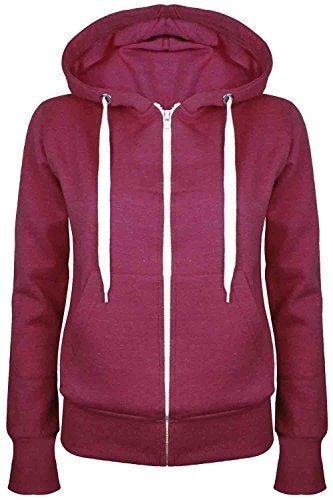 Oops Outlet Damen Einfarbig Kapuzenpulli Mädchen Reißverschluss Top Damen Kapuzenpullis Sweatshirt Mantel Jacke Übergröße 6-24 - Wein, Übergröße 3XL (46/48)