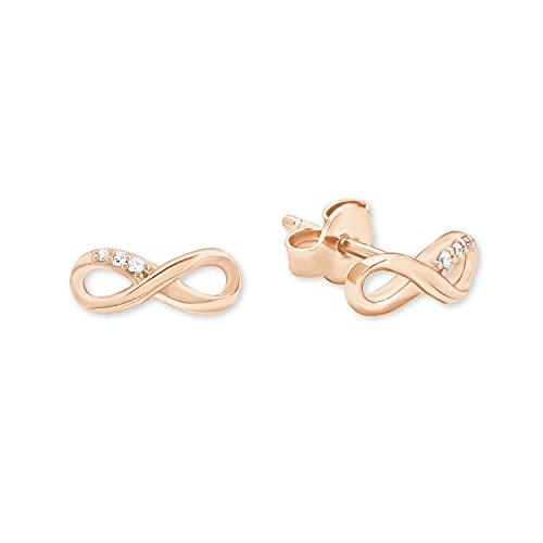 s.Oliver Damen-Ohrstecker Ohrringe Infinity Unendlichkeitszeichen so pure Collection 925 Sterling Silber rosévergoldet Zirkonia weiß
