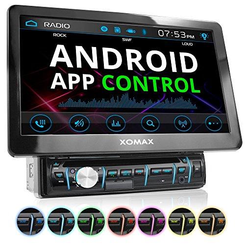XOMAX XM-D1002 Autoradio mit XXL Touchscreen Video Bildschirm (25 cm / 10 Zoll), Android App Control, Bluetooth Freisprecheinrichtung, DVD CD Player USB SD RDS Beleuchtungsfarbe einstellbar, 1 DIN