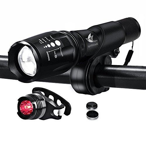 QITAO® LED Fahrradlicht, Topoint wasserdicht 1000 Lumen Fahrradlampe Set,super helle led Taschenlampe ,Frontlicht?5 Modus) + Rücklicht(3 Modus) für Radfahren Camping Outdoor Sport Jagen wandern