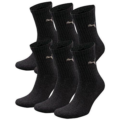6 Paar PUMA Unisex Crew Socks Socken Sportsocken MIT FROTTEESOHLE (Anthrazit, 43-46)