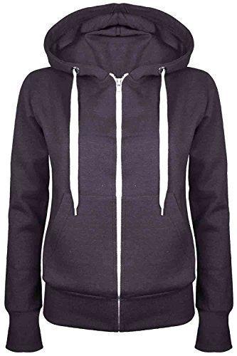 Oops Outlet Damen Einfarbig Kapuzenpulli Mädchen Reißverschluss Top Damen Kapuzenpullis Sweatshirt Mantel Jacke Übergröße 6-24 - Dunkelgrau, Übergröße 2XL (44/46)