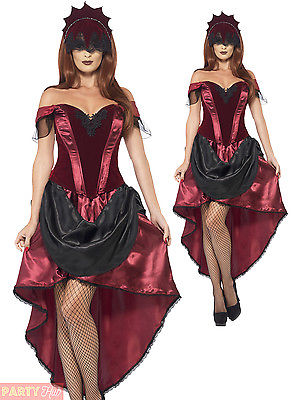 Ladies Venetian Burlesque Halloween Fancy Dress Costume Day Of The Dead Outfit