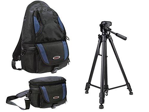 Foto Kamera Rucksack und Tasche All in One Set mit Reise Stativ inkl. Stativtasche für Canon EOS 750D 80D 1200D 6D 1300D Nikon D3300 D7200 D5500 D500 D750 D3400 Pentax Leica und mehr
