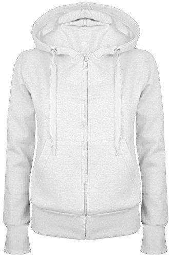 Oops Outlet Damen Einfarbig Kapuzenpulli Mädchen Reißverschluss Top Damen Kapuzenpullis Sweatshirt Mantel Jacke Übergröße 6-24 - Weiß, Plus Size 5XL (UK 22/24)