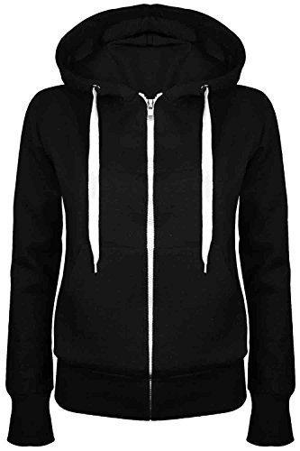 Oops Outlet Damen Einfarbig Kapuzenpulli Mädchen Reißverschluss Top Damen Kapuzenpullis Sweatshirt Mantel Jacke Übergröße 6-24 - Schwarz, Übergröße 4XL (48/52)