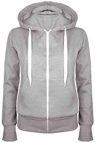 Oops Outlet Damen Einfarbig Kapuzenpulli Mädchen Reißverschluss Top Damen Kapuzenpullis Sweatshirt Mantel Jacke Übergröße 6-24 - grau, Übergröße 5XL (50/52)