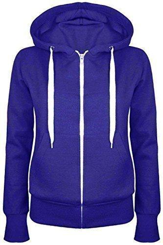 Oops Outlet Damen Einfarbig Kapuzenpulli Mädchen Reißverschluss Top Damen Kapuzenpullis Sweatshirt Mantel Jacke Übergröße 6-24 - Königsblau, Übergröße 3XL (46/48)