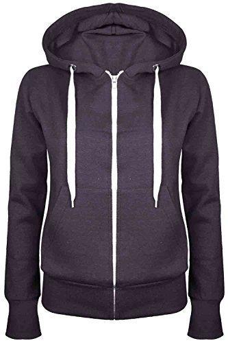 Oops Outlet Damen Einfarbig Kapuzenpulli Mädchen Reißverschluss Top Damen Kapuzenpullis Sweatshirt Mantel Jacke Übergröße 6-24 - Dunkelgrau, Übergröße 3XL (46/48)