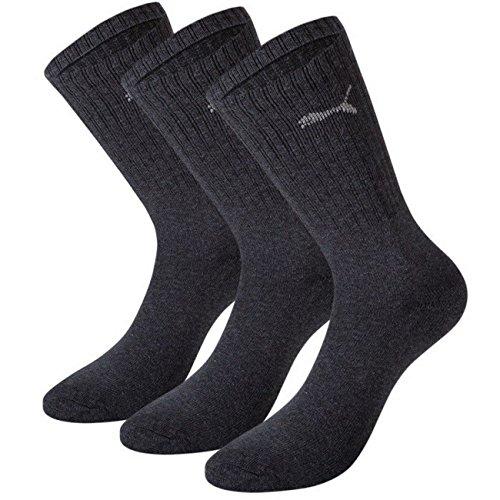 PUMA Unisex Crew Socks Socken Sportsocken MIT FROTTEESOHLE 18er Pack (35/38, Anthracite)