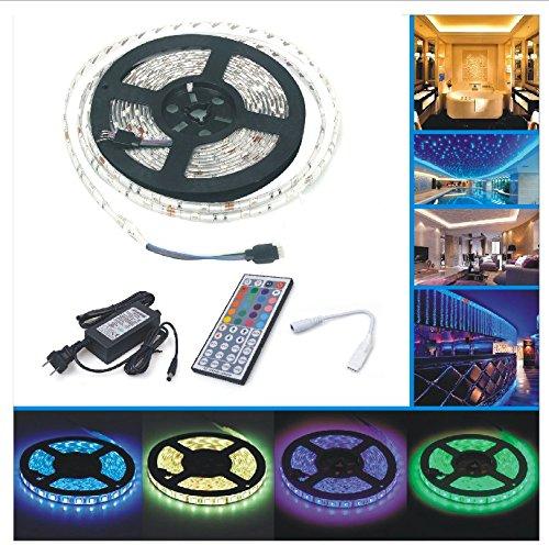 LED Strip Licht Streifen 5m, wasserdicht wechselnde Farben RGB SMD5050 150 Leds, LED-Leiste Kit & Mini 44 -Tasten Fernbedienung + 12 V Strom Versorgung , selbstklebende Lichtleiste