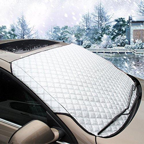 MATCC Auto Scheibenabdeckung Windschutzscheibenabdeckung KFZ Sonnen Hitzeschutz Scheibenschutz Eisschutz Schneeschutz Windschutzscheiben Passform für Autos, Lastkraftfahrzeugen, Vans und SUV