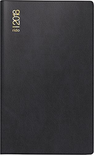 rido/idé 704689290 Taschenkalender/Plankalender M-Planer, 2 Seiten = 1 Monat, 87 x 153 mm, Kunststoff-Einband schwarz, Kalendarium 2018
