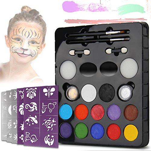 LeCou 12er Schminkfarbe Schminkset , 2 Glitzer und 4 Pinsel , Schminkasten Tiermasken Körperfarben Körpermalfarben für Kinder Halloween Karneval Make-up Gesichtsfarbe Bodypainting