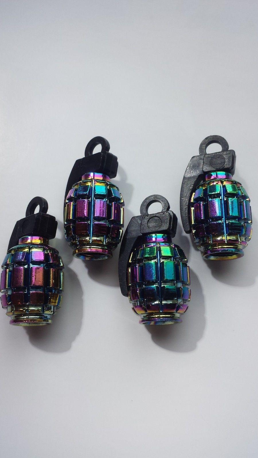Neo Chrome Colourful Grenade Shaped Car Wheel Tyre Valve Metal Dust Caps x 4
