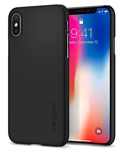 iPhone X Hülle, Spigen® [Thin Fit] Passgenaues [Schwarz] Slim Hart PC Hardcase Schale Schlanke Handyhülle Schmal Schutzhülle für Apple iPhone X Case Cover - Matt Black (057CS22108)