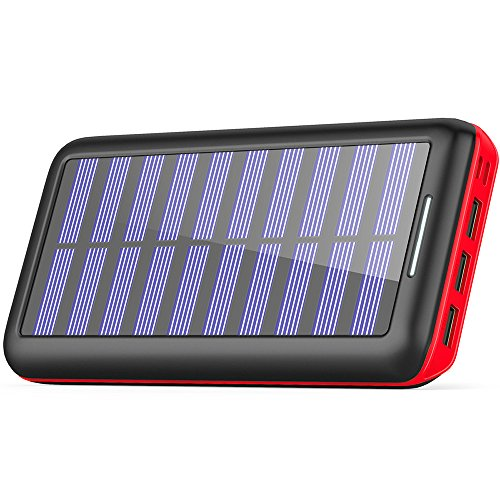 Solar Ladegerät Powerbank, BERNET 24000mAh Externe Akku Batterien mit (Lighting & Micro)Dual Input und 3 Ausgänge Solar Power Bank für iPhone, iPad, Samsung, Android und andere Smartphones-Rot