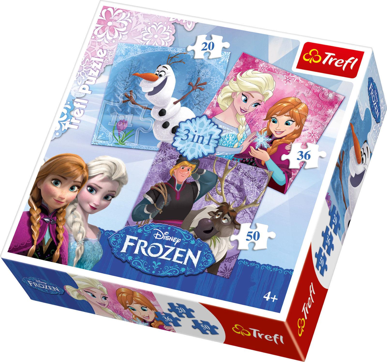 Frozen Puzzle 3 in 1 Eiskönigin Olaf Anna Elsa 20, 36 und 50 Teile Feinmotorik