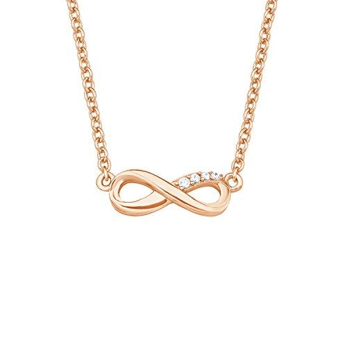 s.Oliver Damen-Kette Halskette so pure Collection 40+5 cm längenverstellbar mit Infinity Anhänger 925 Sterling Silber rosévergoldet Zirkonia weiß