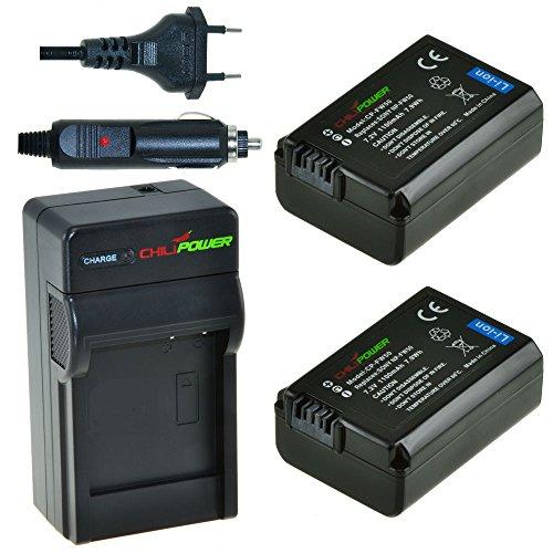 ChiliPower NP-FW50 Kit: 2x Akku + Ladegerät für Sony Alpha 7, a7, 7R, a7R, Alpha a3000, a5000, a6000, NEX-3, NEX-5/5R/5T, NEX-6, NEX-7, NEX-C3, NEX-F3, SLT-A33/A35/A37, SLT-A55V, Cybershot DSC-RX10