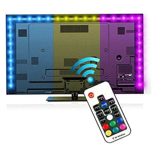 Bias Beleuchtung für HDTV (78.7in / 2m) mit Fernbedienung, EveShine USB Powered Multi FarbeLED TV Hintergrundbeleuchtung Streifen für Flachbildschirm LCD LCD, Desktop Monitore - Passend für alle TV-Größe Bis zu 60 ''