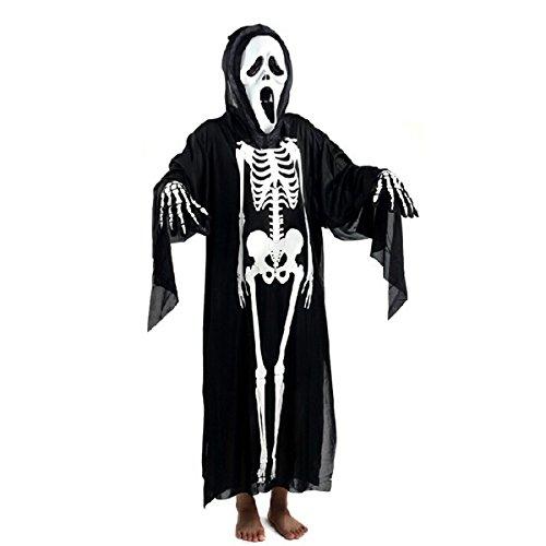 Foxnovo Halloween Maskerade Kostüm Cosplay Requisiten Set Schädel Skelett Geist Kleidung Screaming Ghost Maske für Erwachsene (schwarz)