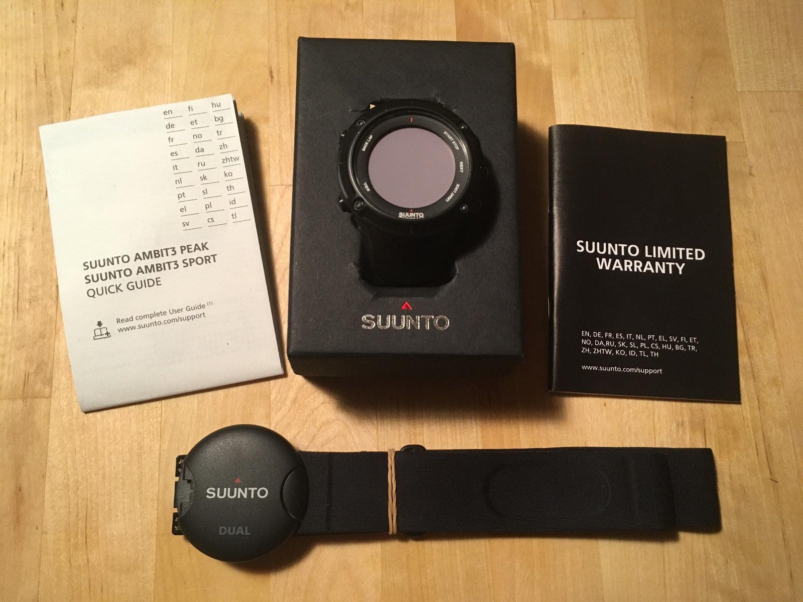 Suunto Ambit 3 PEAK Black in Bestzustand mit neuem HR Gurt und Ladekabel