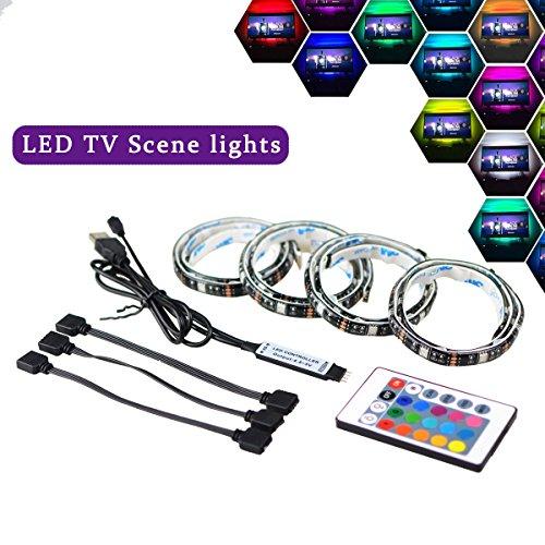 LED TV Hintergrundbeleuchtung 2m LED Steifen Kit Für 40-60 Zoll TV, Simfonio RGB 5050 led Strip mit Fernbedienung USB Powered TV Beleuchtung