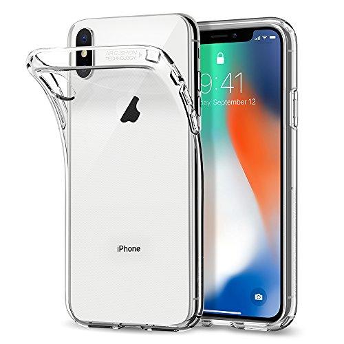 iPhone X Hülle, Spigen® [Liquid Crystal] Soft Flex Silikon [Crystal Clear] Qi-kompatibel Transparent Handyhülle TPU Durchsichtige Schutzhülle für iPhone X Case Cover - Crystal Clear (057CS22118)