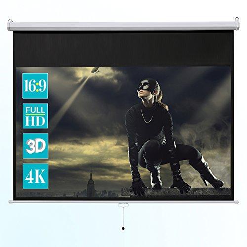 ivolum Rolloleinwand 240 x 135cm Nutzfläche | Format 16:9 | Als Heimkino-Leinwand oder Business-Leinwand einsetzbar | einfach Montage und Bedienung | Beamer-Leinwand in verschiedenen Größen erhältlich