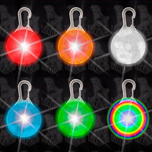 7 Stück Hunde Leuchtanhänger Leuchthalsband Led Hundehalsband LH6 Blinkie von Leuchthund® Led Anhänger (gemischt je 1 (mit disko 1))