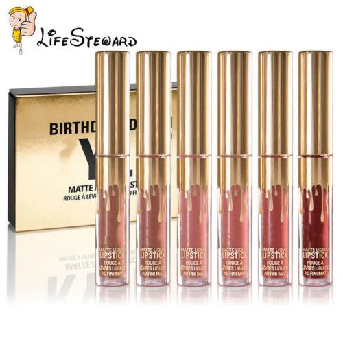 6pcs Gold Mini Makeup Matte Liquid Lipstick Waterproof Lip Gloss Brithday Set