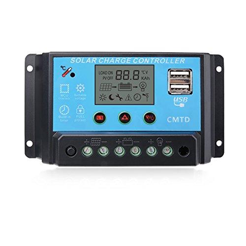 Sunix® 10A Solar Panel Laderegler Laderegler Intelligenz USB Teil, LED-Anzeige 12V-24V