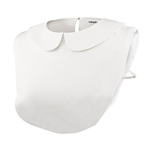 Wearlizer Frauen Kragen Abnehmbare Hälfte Shirt Bluse Weiß